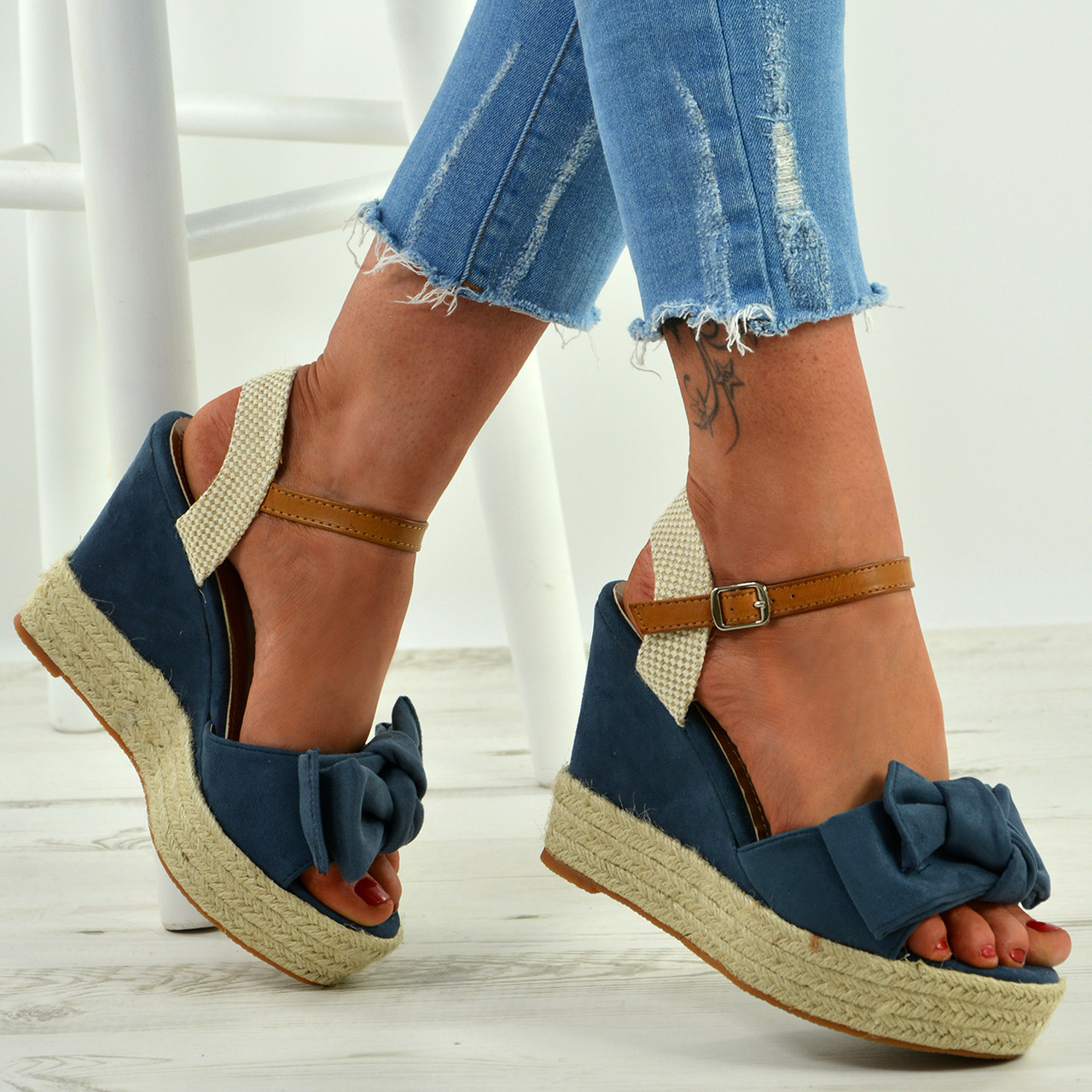 ecd3a1acf39 New Womens High Heel Wedges Ladies Bow Ankle Strap Platform Sandals Shoes