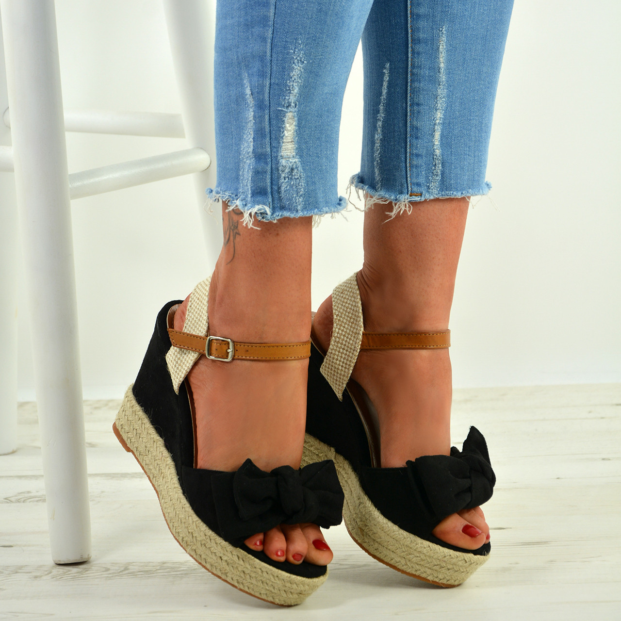 4603b84a4b8 New Womens High Heel Wedges Ladies Bow Ankle Strap Platform Sandals Shoes