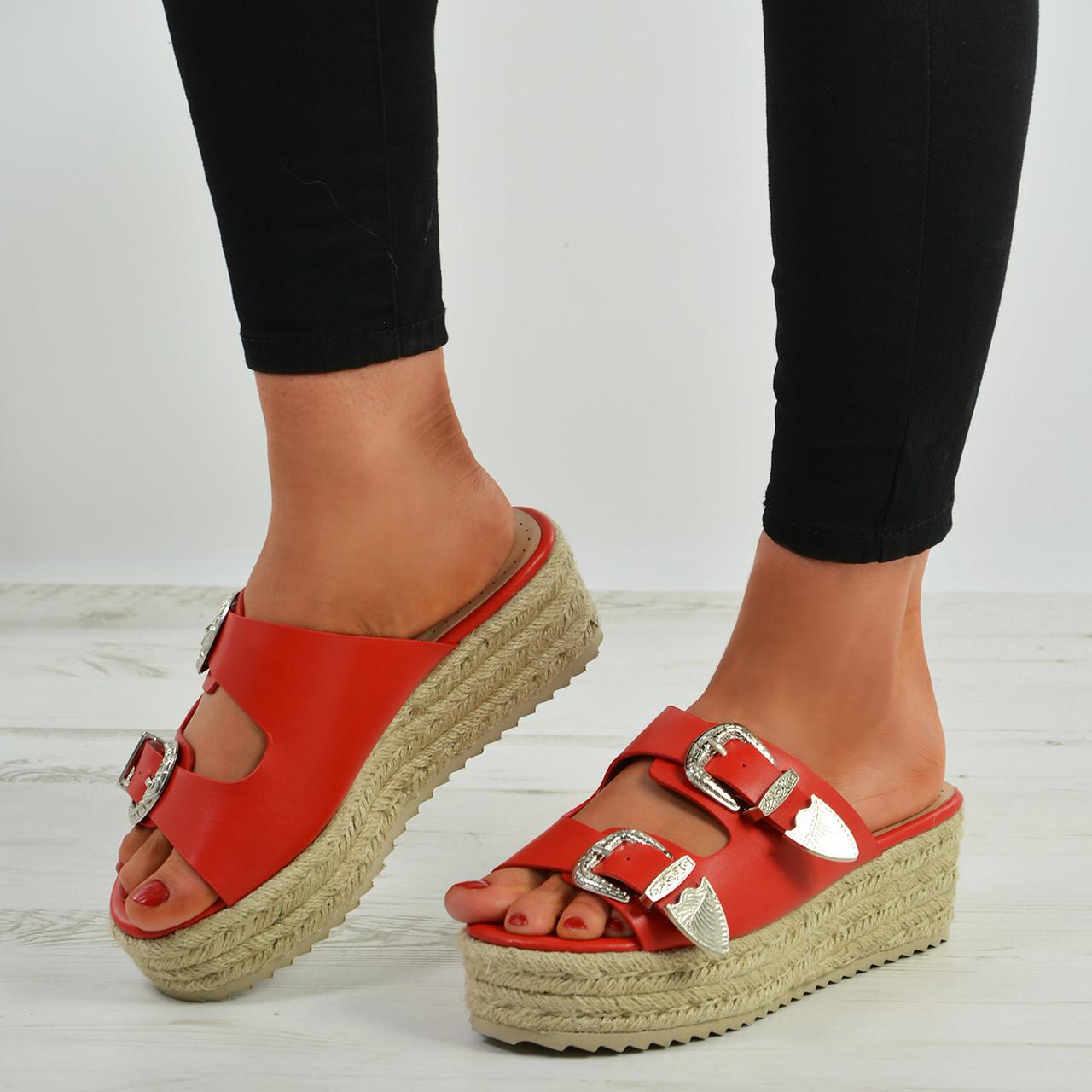 f1d144b1d00c New Womens Slip On Wedge Espadrille Platform Sandals Ladies Peep Toe Shoes