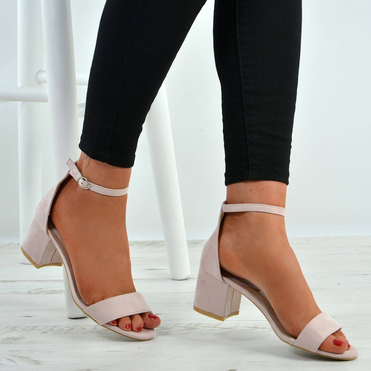 Women Peep Toes Buckle Anke Boots Sandals Lady Block Mid Heels Summer Shoes Size Clothes, Shoes & Accessories Women's Heels