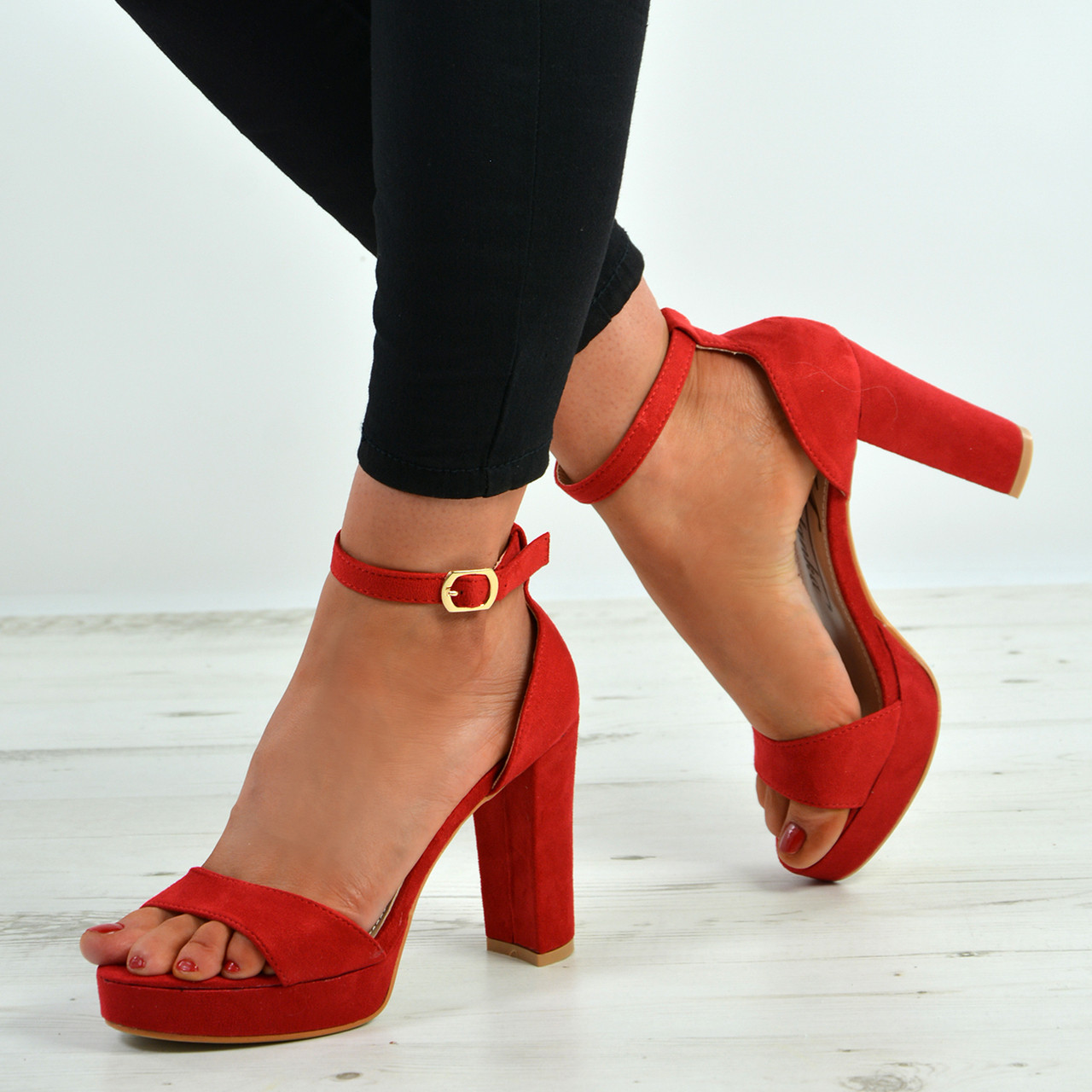 red ankle strap shoes uk