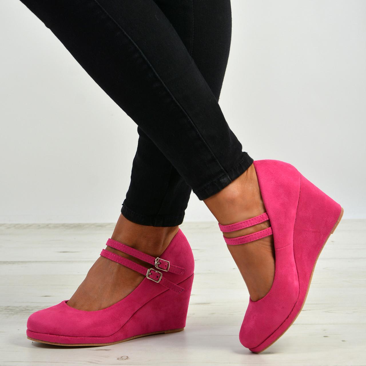 a7e4017f5f Womens Ladies High Wedge Heel Pumps Platform Double Strap Shoes Size Uk 3-8