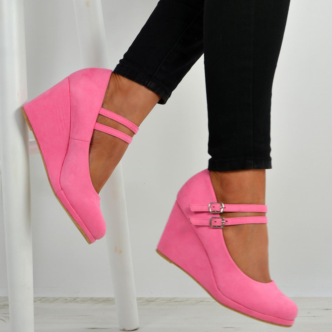 e5ce2b70a9 Womens Ladies High Wedge Heel Pumps Platform Double Strap Shoes Size Uk 3-8