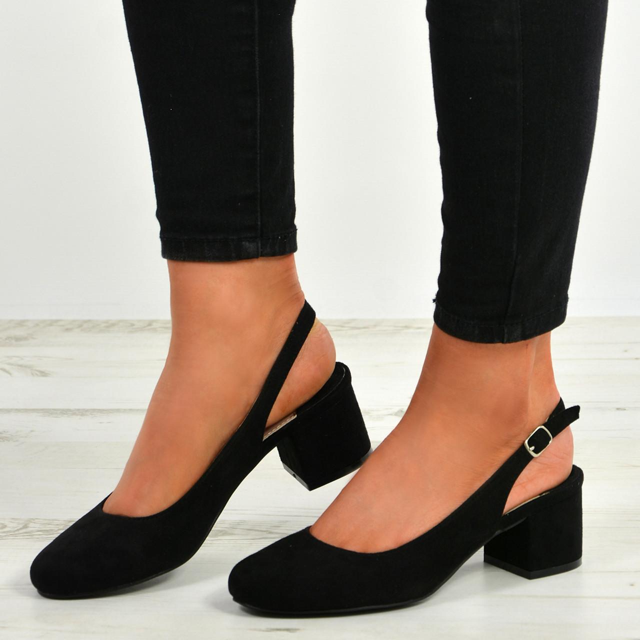 1707e23de1a Aubrie Black Low Heel Pumps