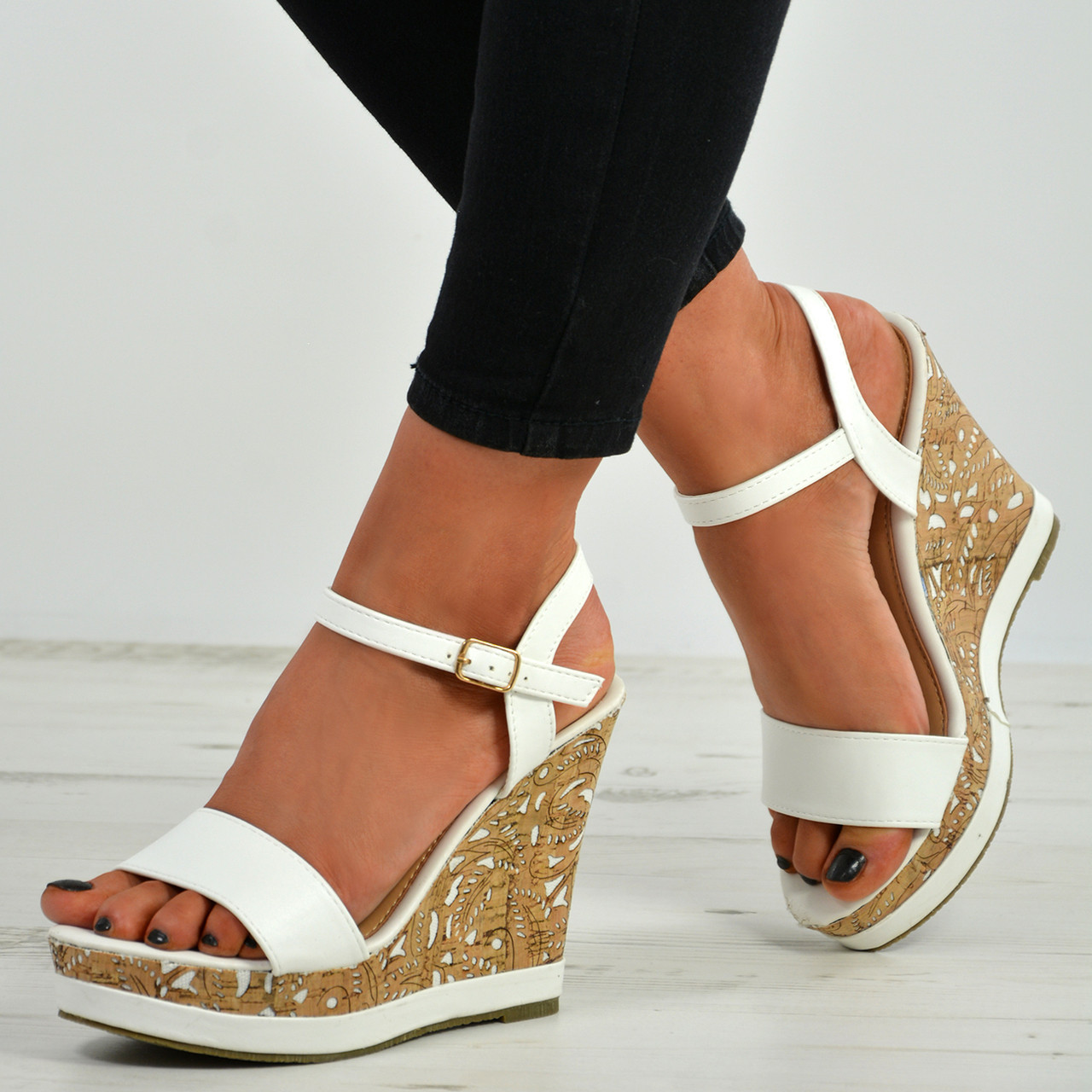 Wedge Heel Sandals Peep Toe Ankle Strap