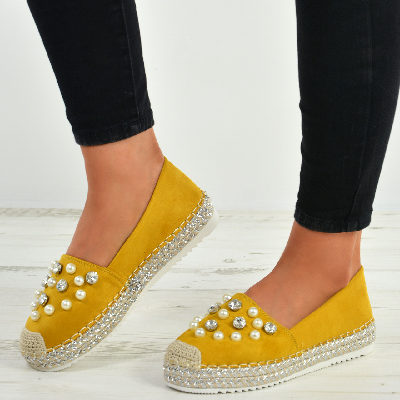 83f71b359 New Womens Ladies Slip On Flat Espadrille Ballerina Pearl Studded Shoes  Size Uk