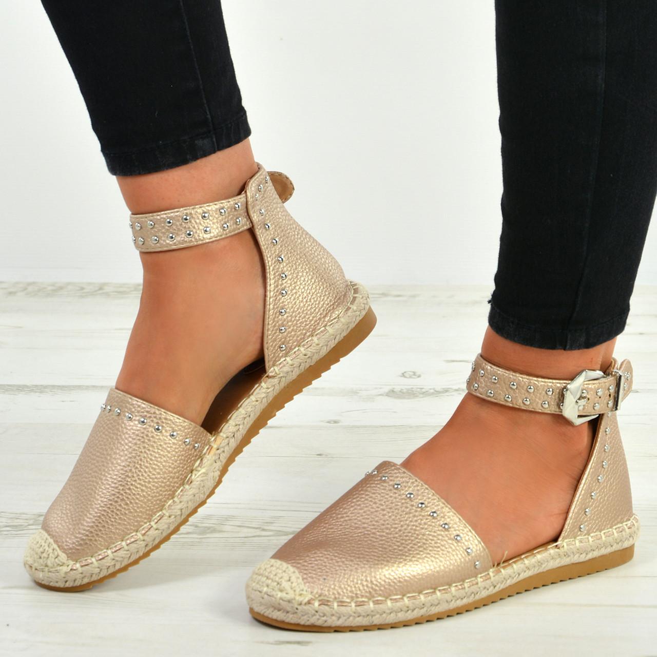 Womens Ladies Flat Heel Stud Summer Espadrilles Ankle Strap Sandals Shoes Size 7