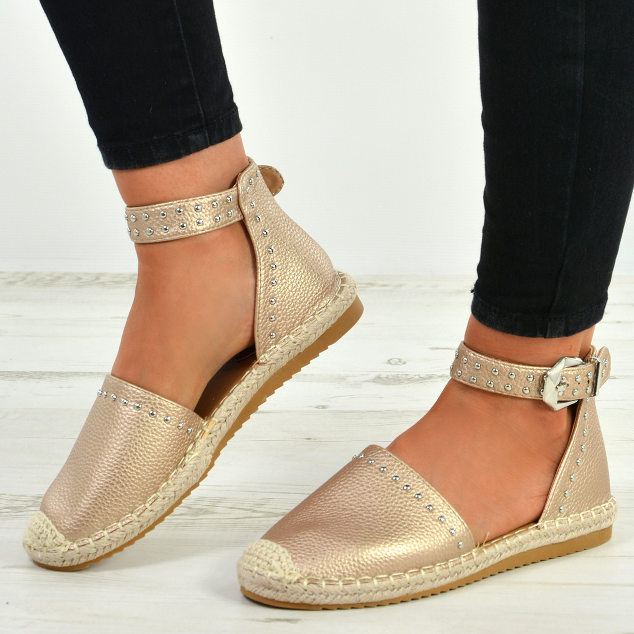 def9e86b9c508 New Womens Ankle Strap Espadrille Flats Studded Comfy Summer Shoes Size Uk