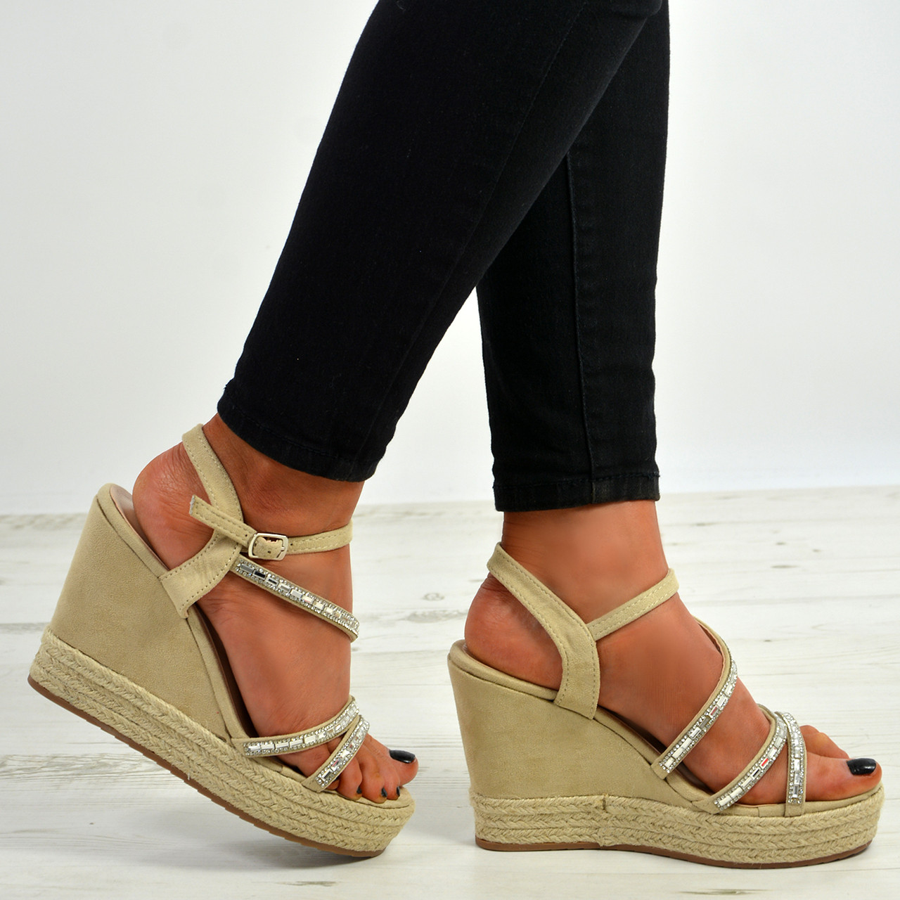 898769639980 New Womens Ladies Ankle Strap Studded Espadrille Wedge Platform Sandals  Shoes