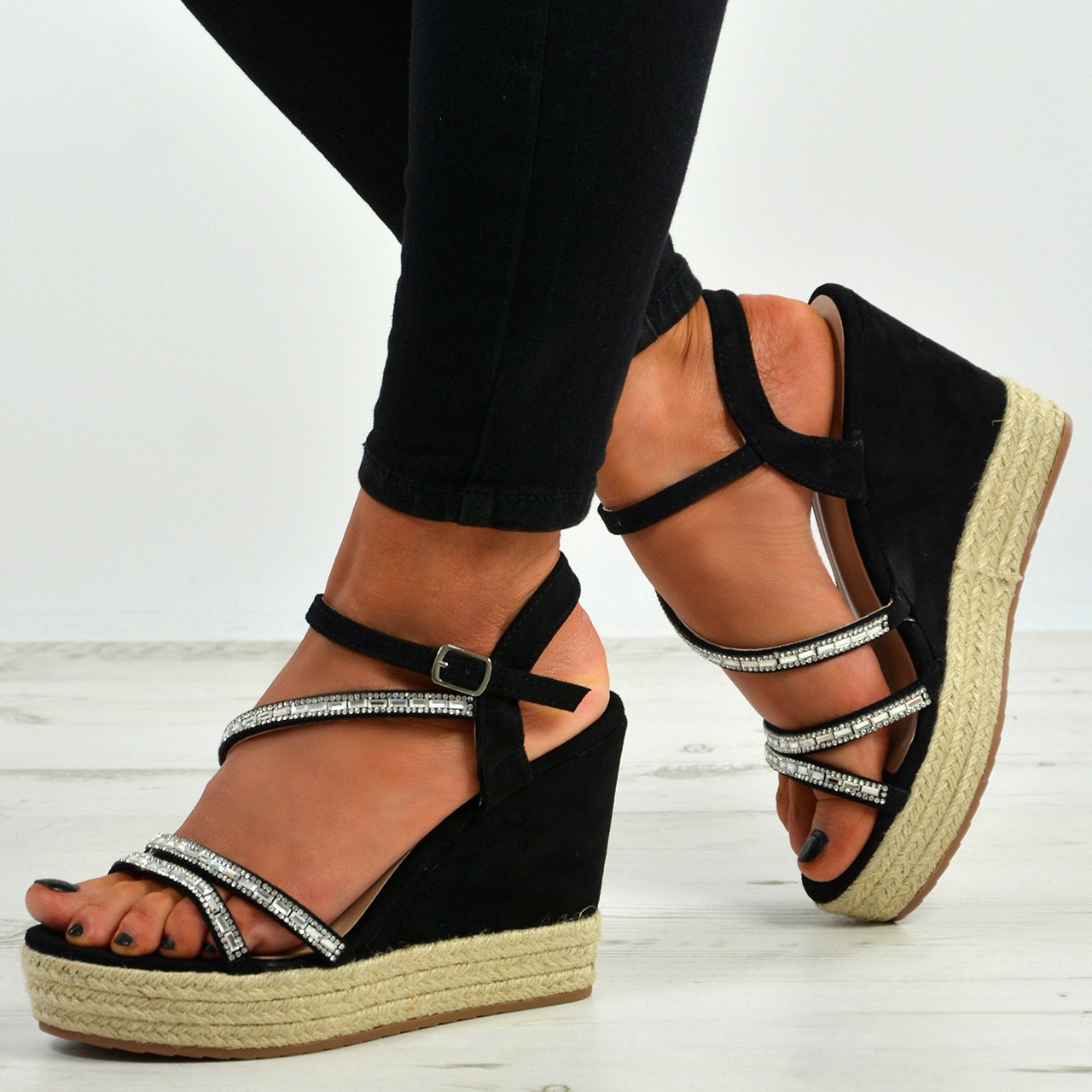 cf05a78f472 New Womens Ladies Ankle Strap Studded Espadrille Wedge Platform Sandals  Shoes