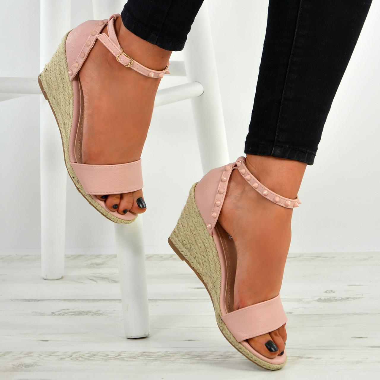 07e1140c5ce New Womens Ladies Rock Studs Peep Toe Espadrille Wedge Platforms Sandals  Shoes