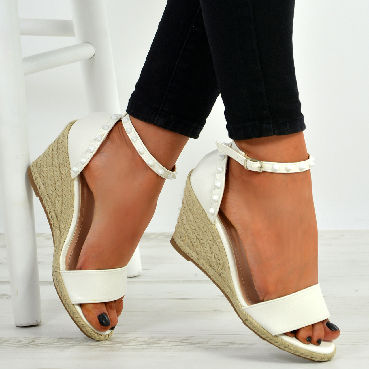 9741ddffb67 New Womens Ladies Rock Studs Peep Toe Espadrille Wedge Platforms Sandals  Shoes