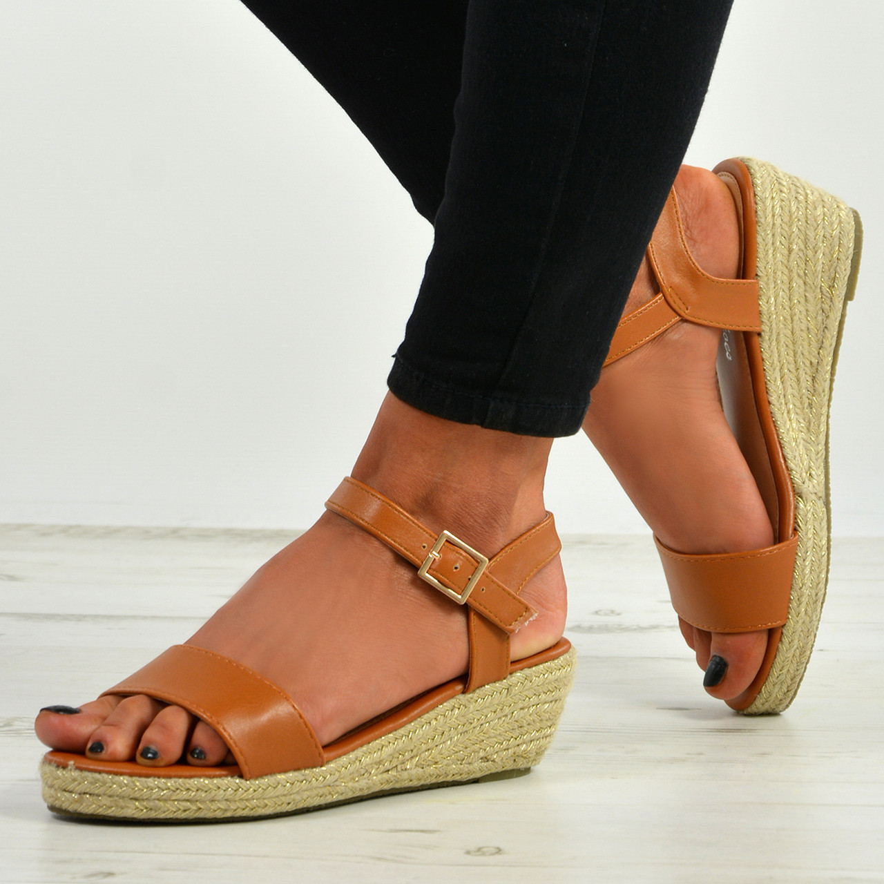 b3268a7927f New Womens Ladies Peep Toe Espadrille Ankle Strap Wedge Sandals Summer Shoes