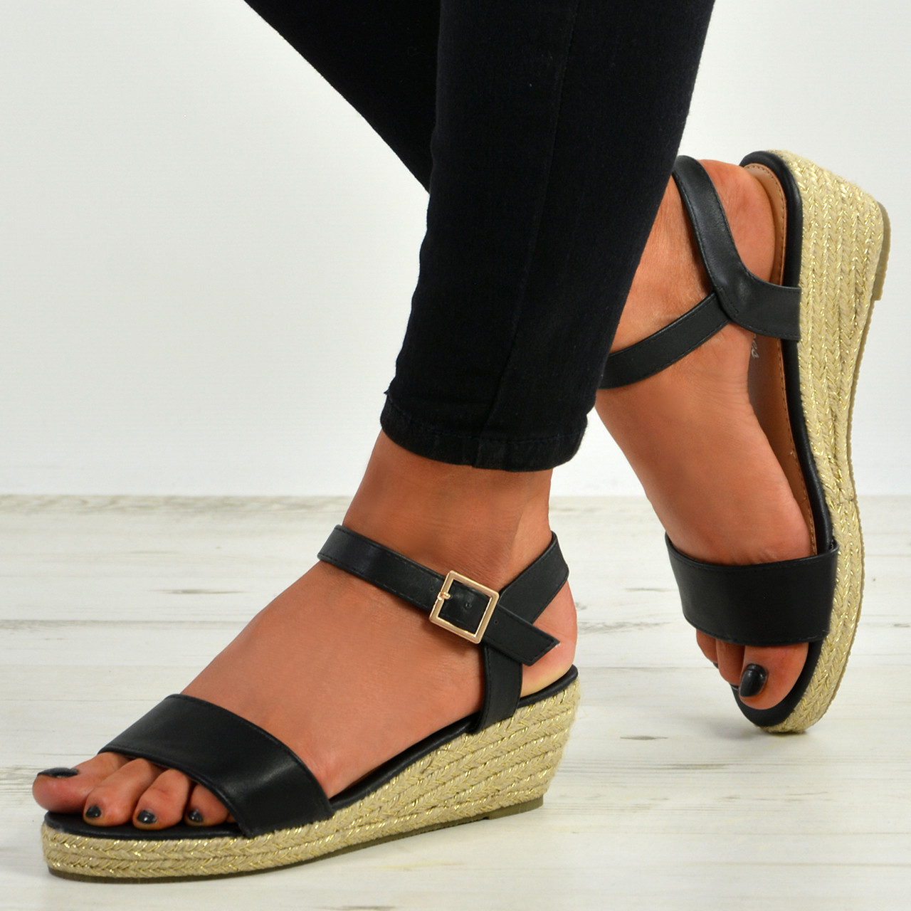 WOMENS BEACH PARTY SUMMER CHUNKY FLAT HEEL LADIES ESPADRILLE WEDGE SANDALS SIZE