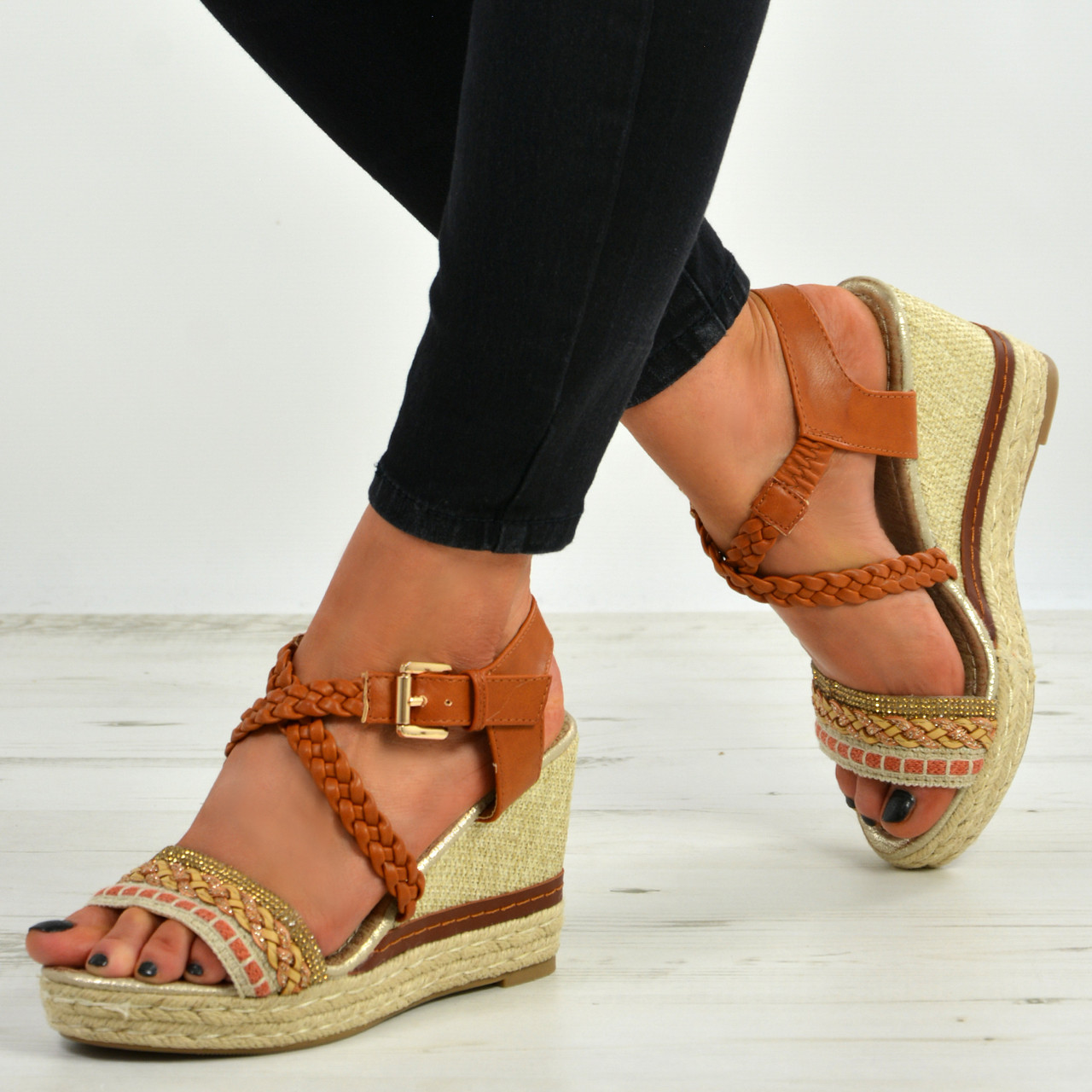 e66f582e7c7 New Womens Ladies Ankle Strap Peep Toe Espadrille Wedge Platforms Shoes  Size Uk