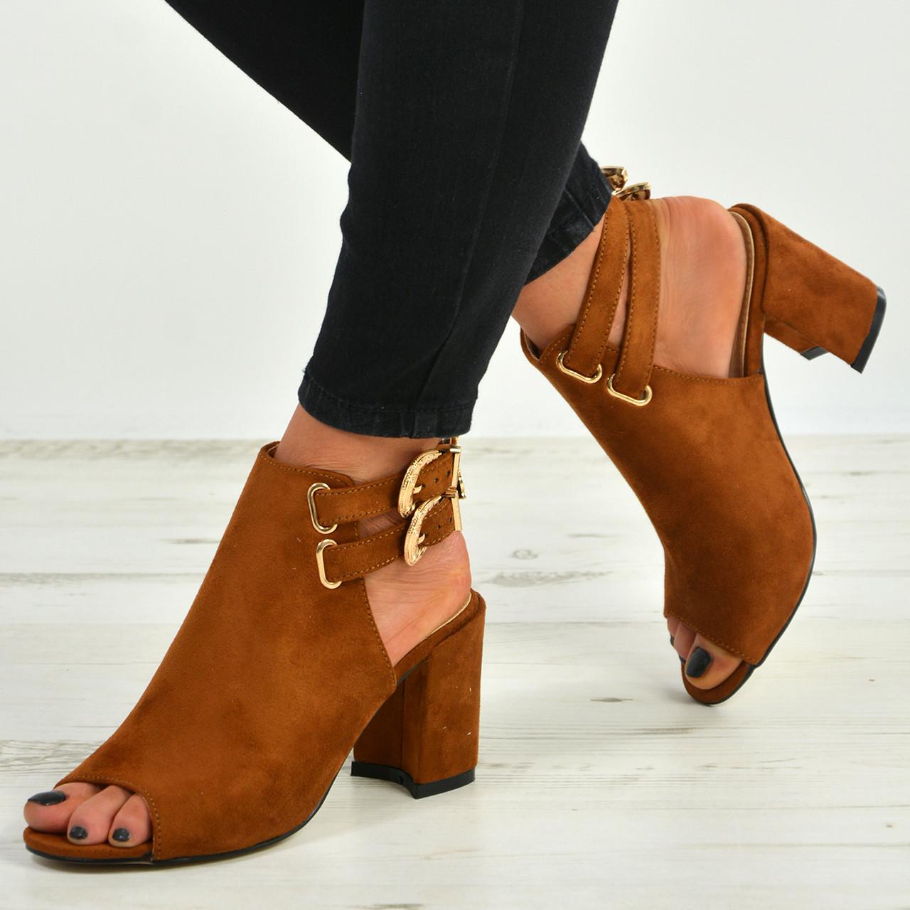 e5baa110b New Womens Ladies Ankle Strap Block Heels Peep Toe Sandals Shoes Size Uk 3-8