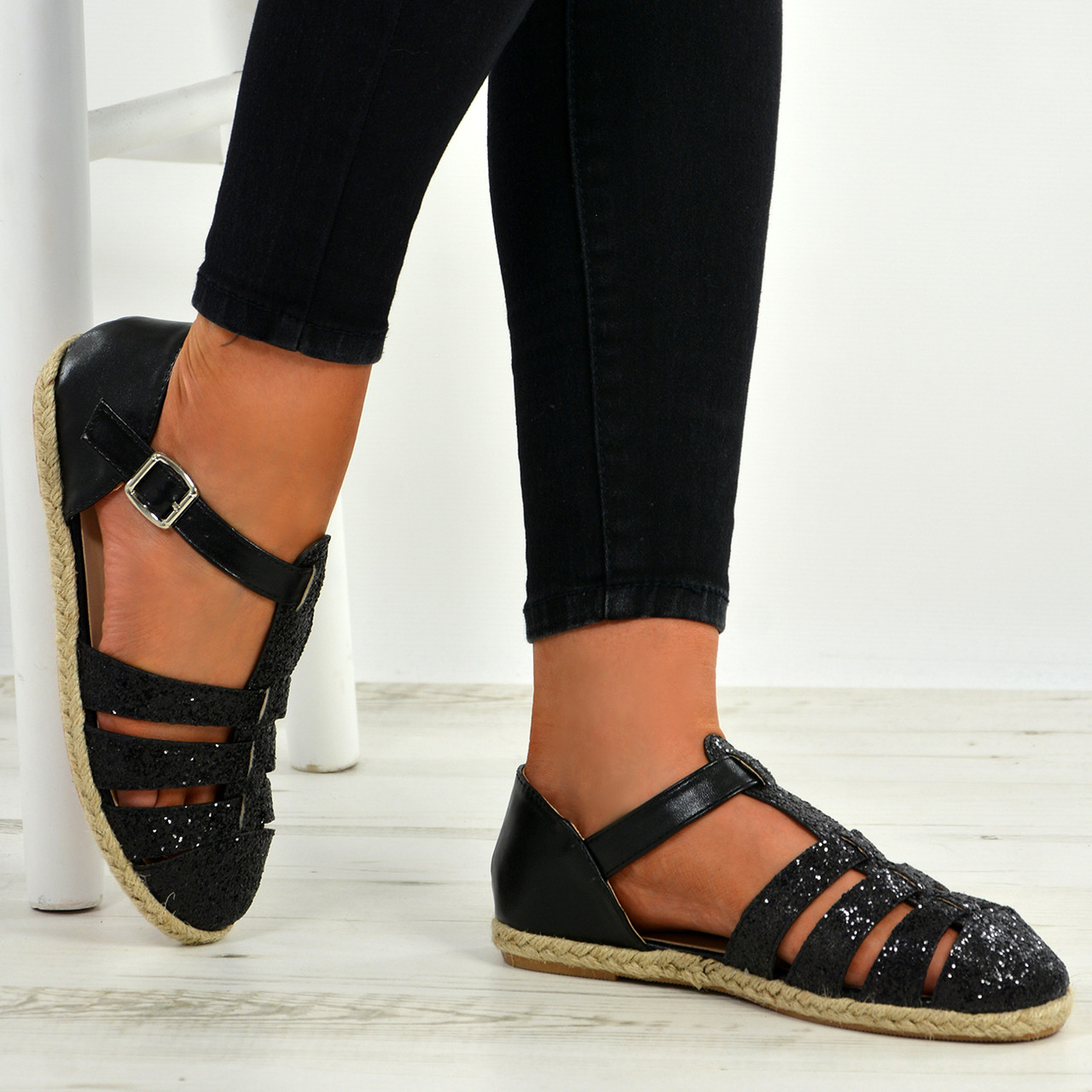 2752af112 New Womens Ladies T Strap Glitter Sparkle Flat Espadrille Heels Sandals  Shoes