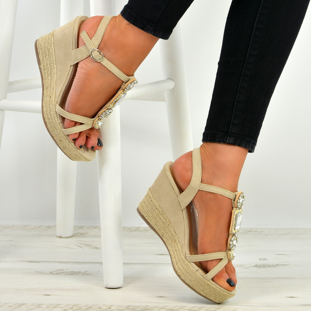 4fc3d36abf86 Womens Ladies High Wedge Platform Stud Espadrilles Summer Sandals Shoes  Size 3-8