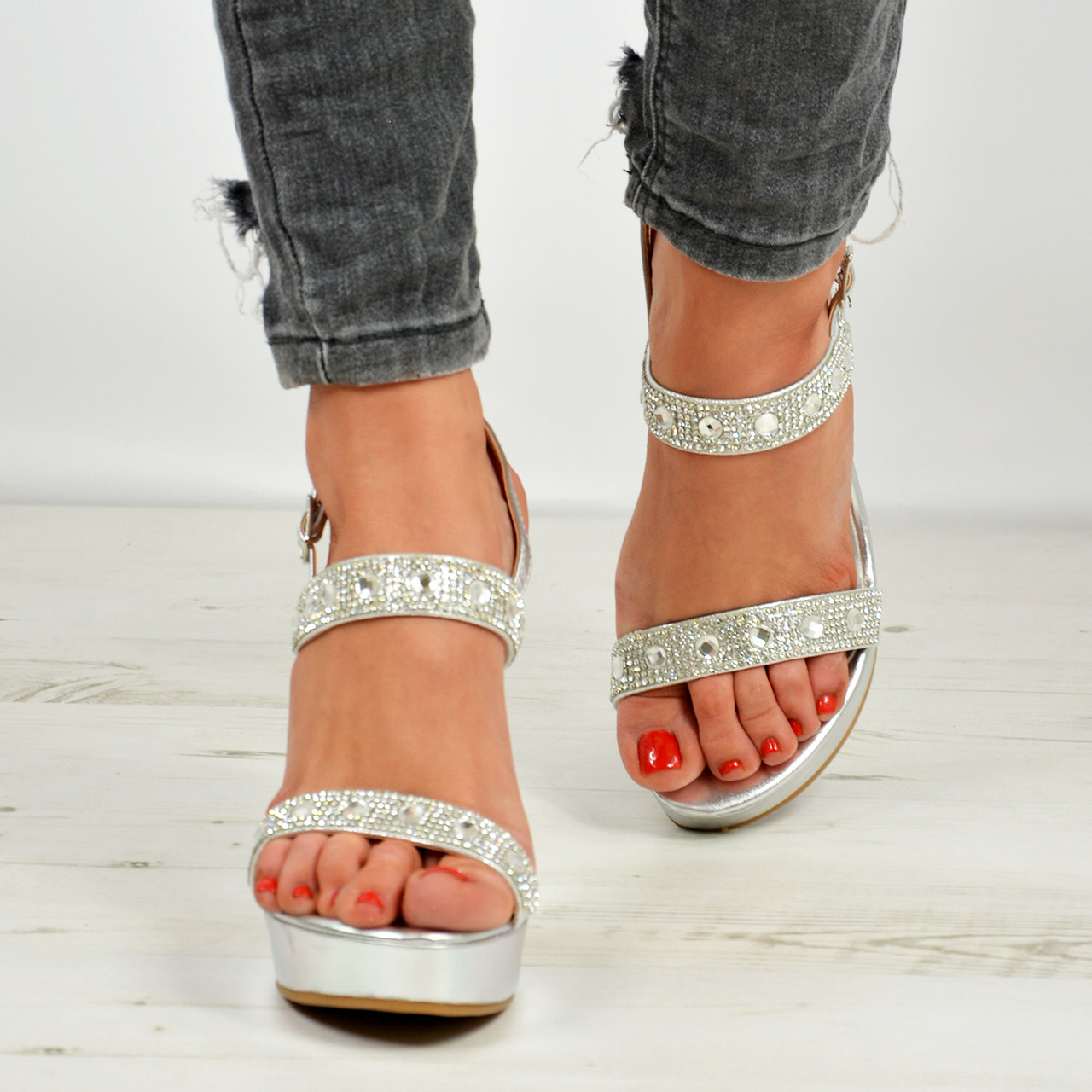 New Womens Ladies Studded Wedge
