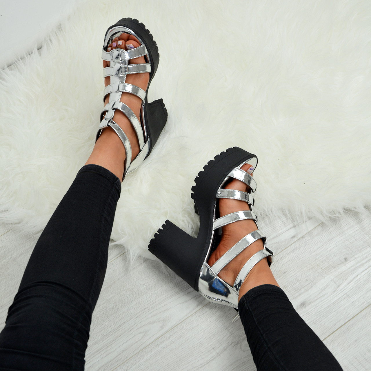 0ebd5a8b020 Ladies Womens T Strap High Heels Sandals Cleated Platforms Gladiator Shoes  Sizes