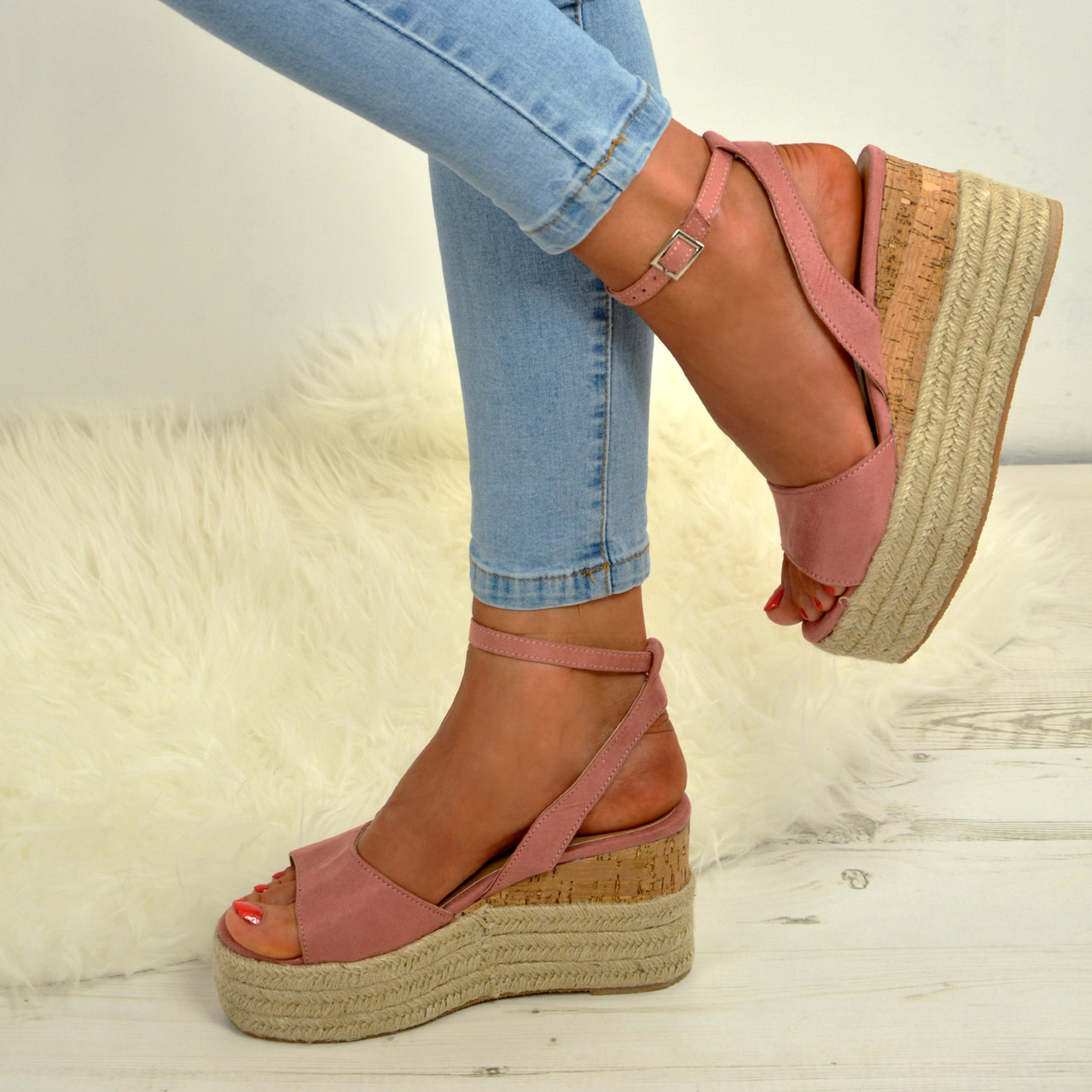 67fa3a1f0ba Ladies Womens Ankle Strap Flatform Wedge Platforms Sandals Espadrille Party  Shoe
