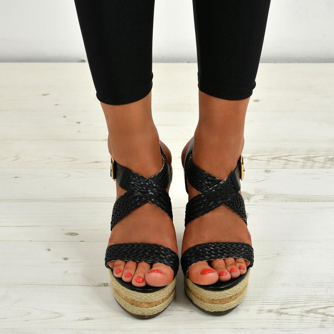 88c0569896e7 Ladies Womens Cork Wedge Sandals Platform Ankle Strap Braids Summer Shoes  Sizes