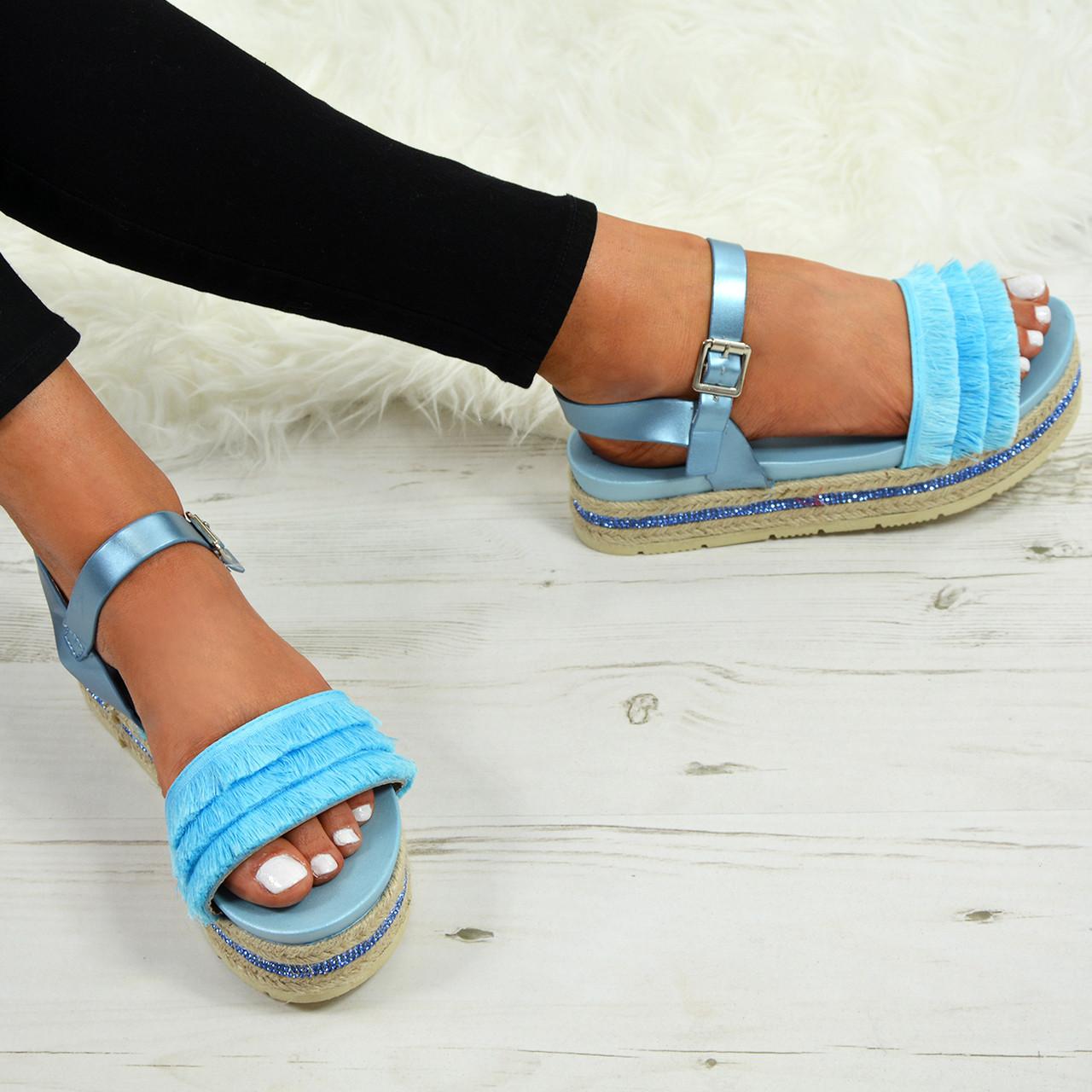 beb3999753f5 Ladies Womens Espadrille Flatforms Summer Sandals Platform Wedge Shoes Sizes