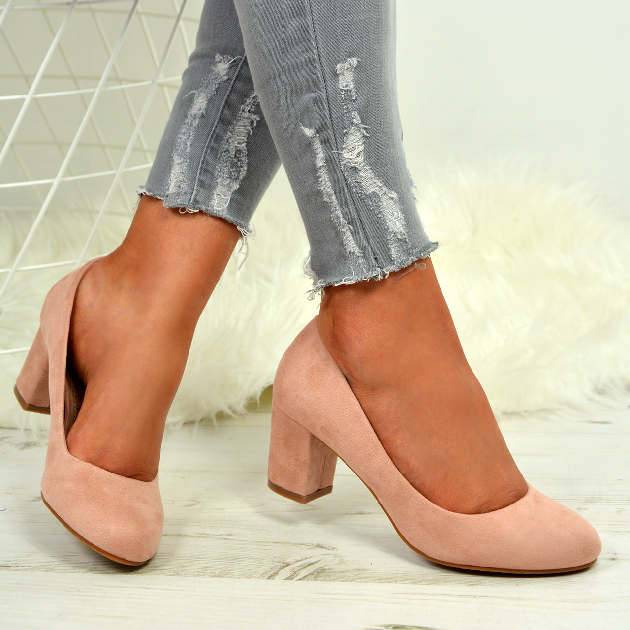 a97decbd5a56 Ladies Womens Mid High Block Heel Slip On Court Pumps Comfy Party Shoes  Sizes Uk