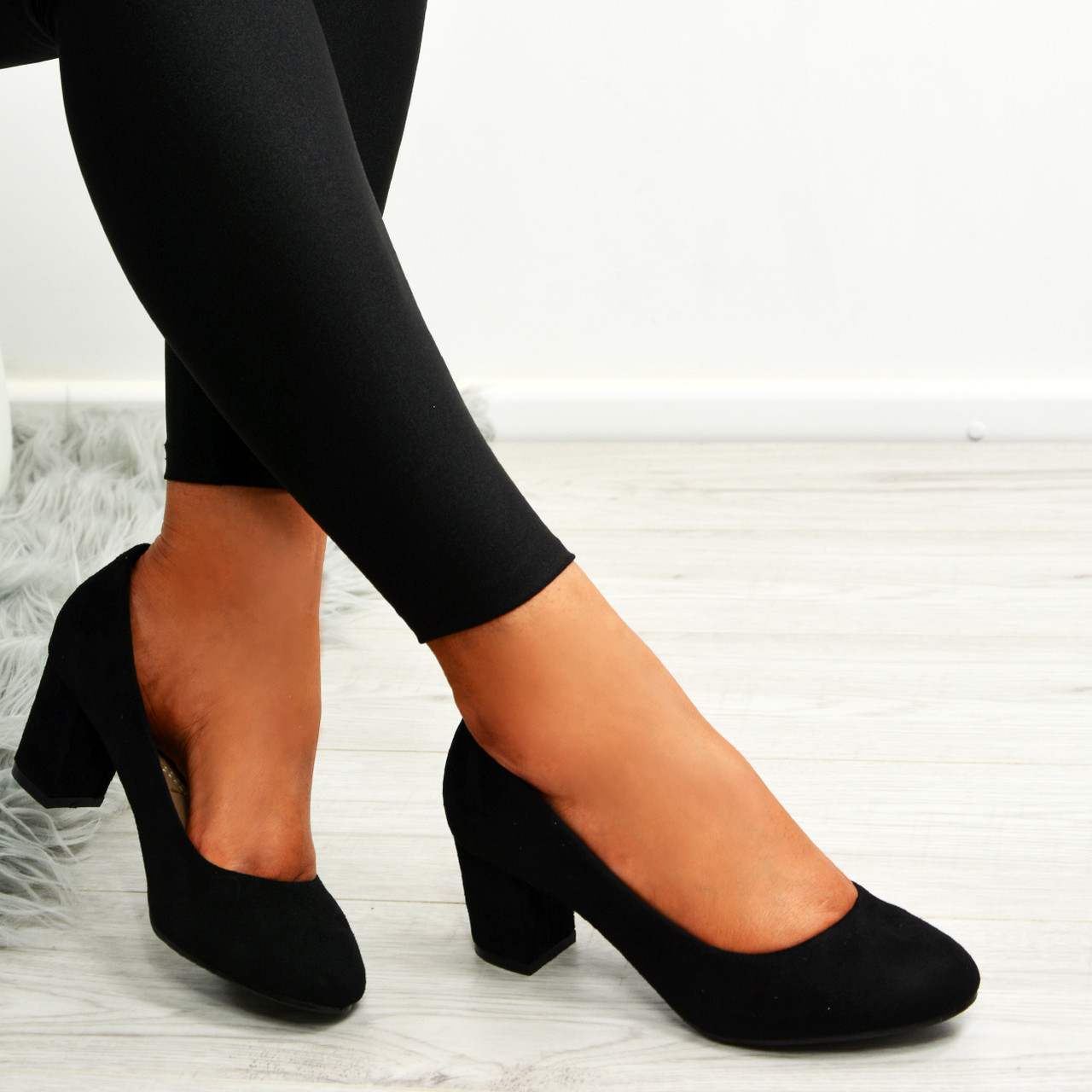 67b134376ab Kamari Black Mid Heel Pumps