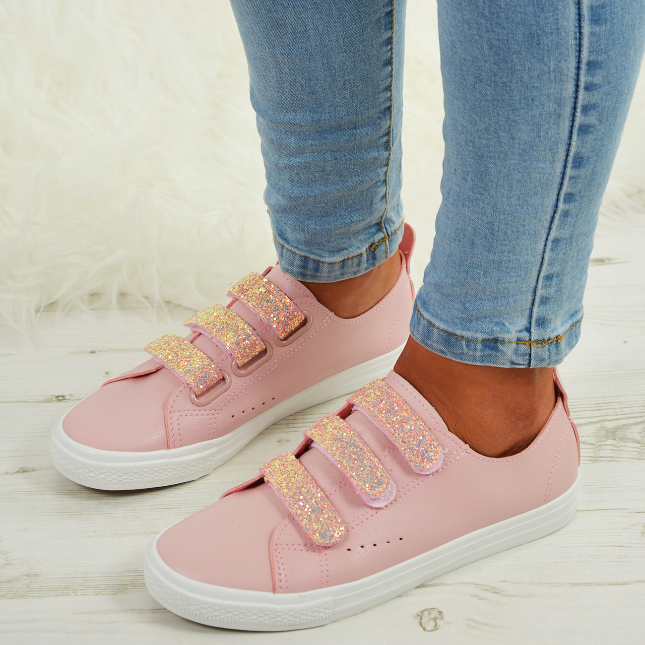 b65167a3095e Ladies Womens Glitter Sparkle Pumps Trainers Sneakers Plimsoll Casual Comfy  Shoe