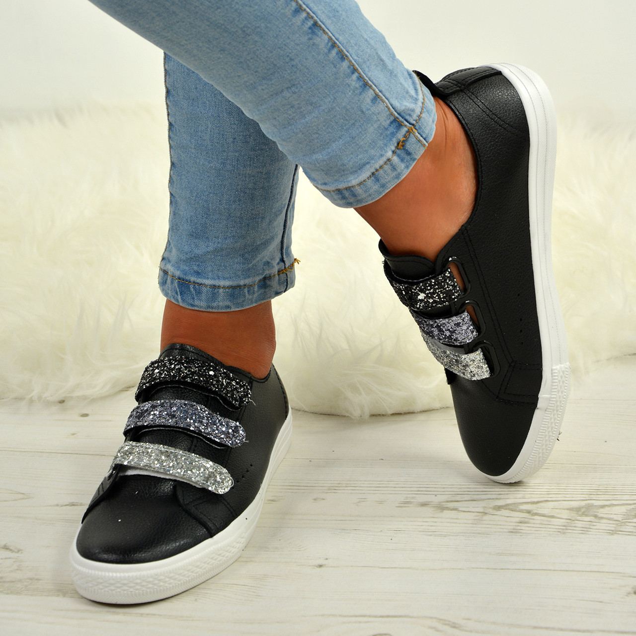 aacca27c1356 Ladies Womens Glitter Sparkle Pumps Trainers Sneakers Plimsoll Casual Comfy  Shoe