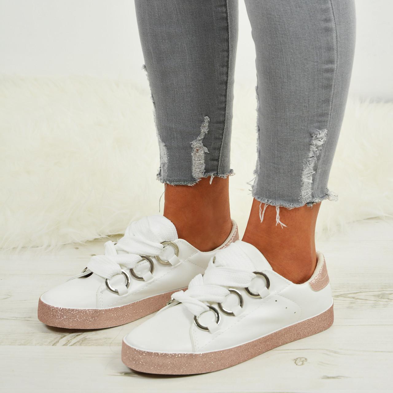 Ladies Womens Glitter Sneakers Sparkle