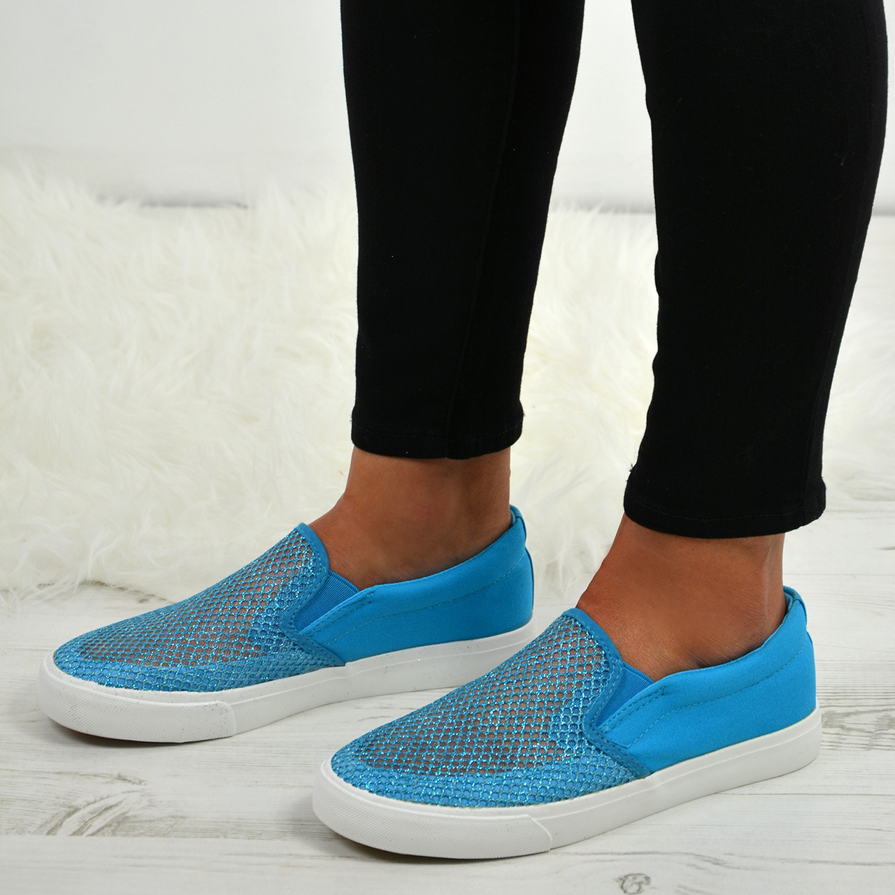 Ladies Womens Mesh Fishnet Slip On Sneakers Trainers Plimsoll Fashion Shoes  Size