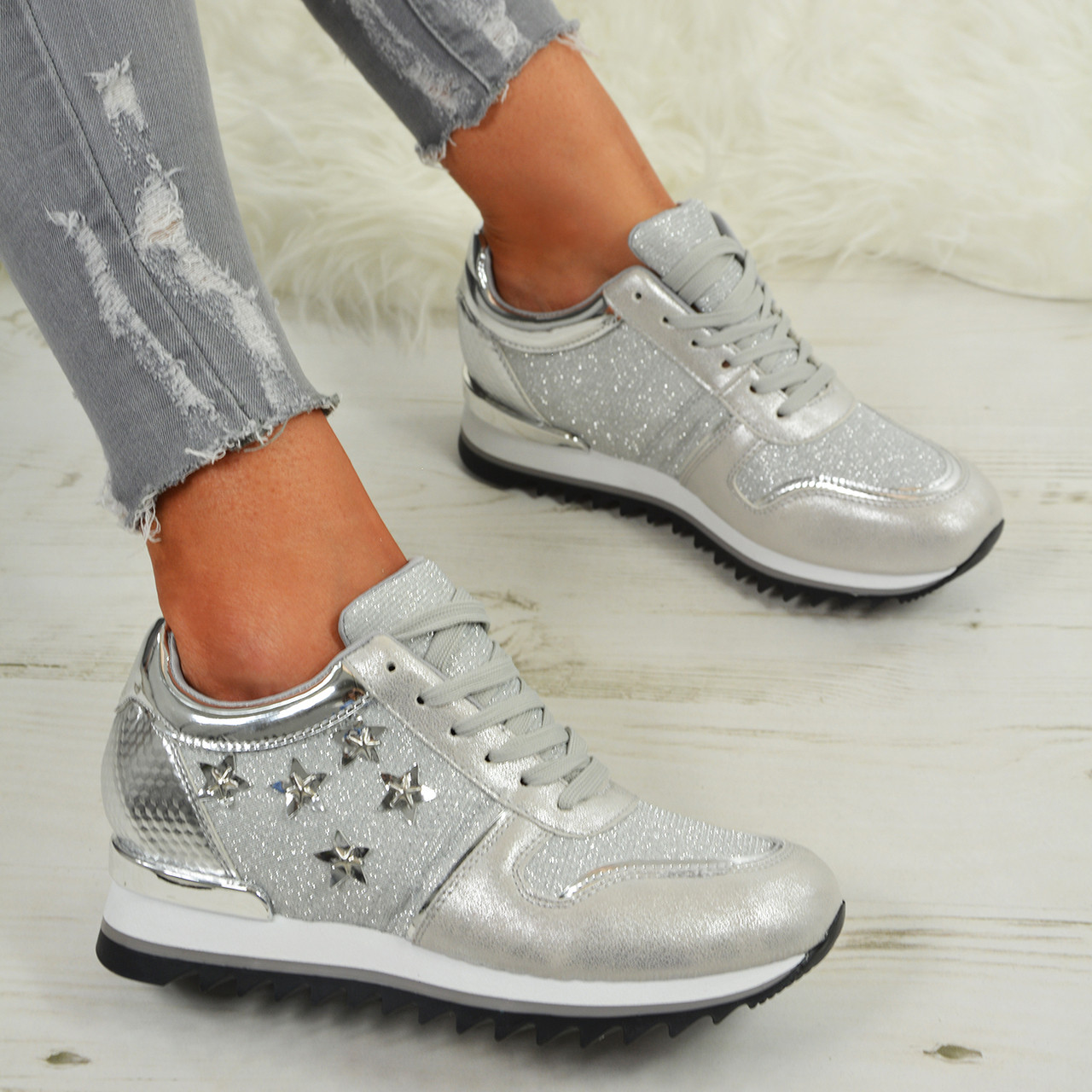 8d92afb55be Ladies Womens Star Glitter Sparkle Wedge Trainers Sneaker Running Shoes Size