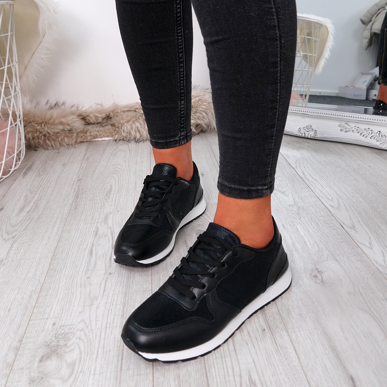 Women's Shoes Nice Us Sports Womens Lace Up Casual Shoes Black Size 6