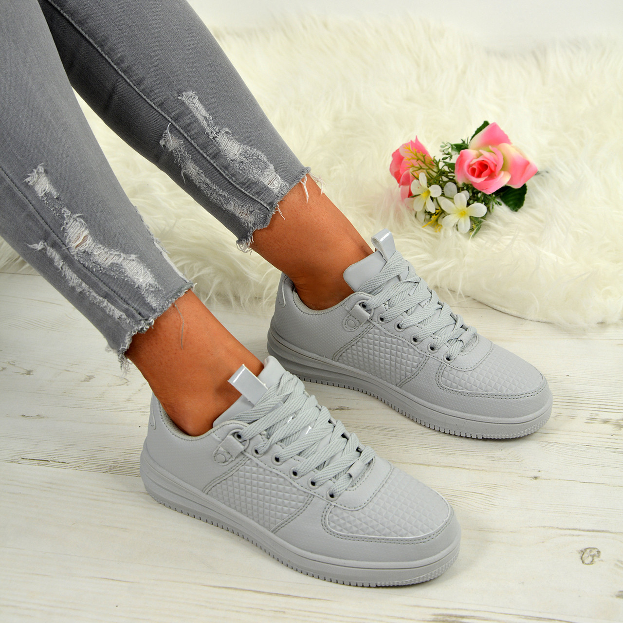 Ladies Womens Slip On Trainers Casual Walking Fashion Flat Silver Shoes Size 5 6