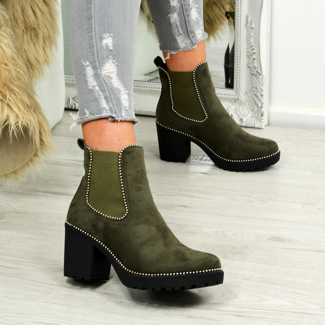 4d1e9e123ae Ladies Womens Chelsea Ankle Boots Studded Block Heels Elastic Shoes ...
