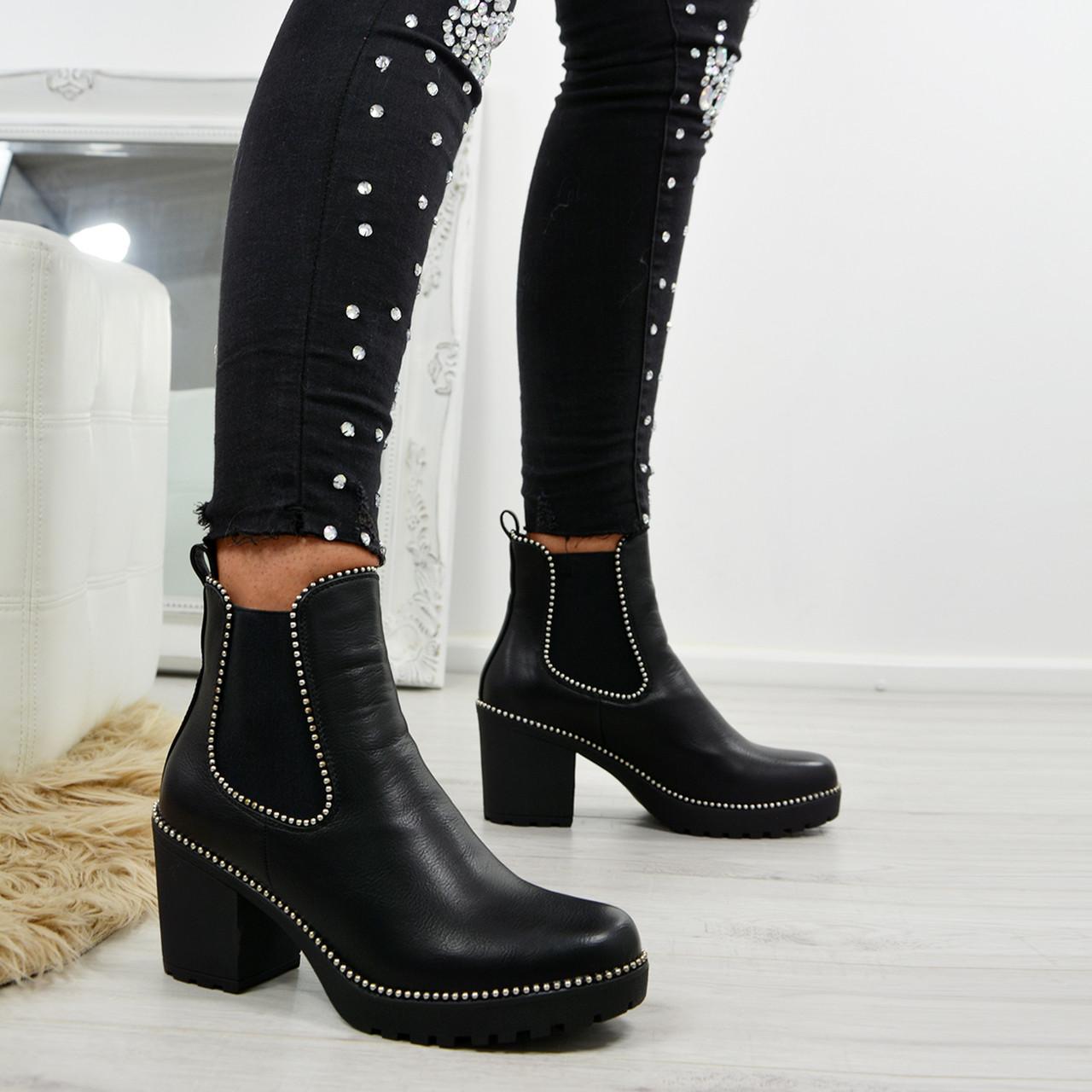 b83a3ae0788 Ayana Black Pu Chunky Ankle Boots