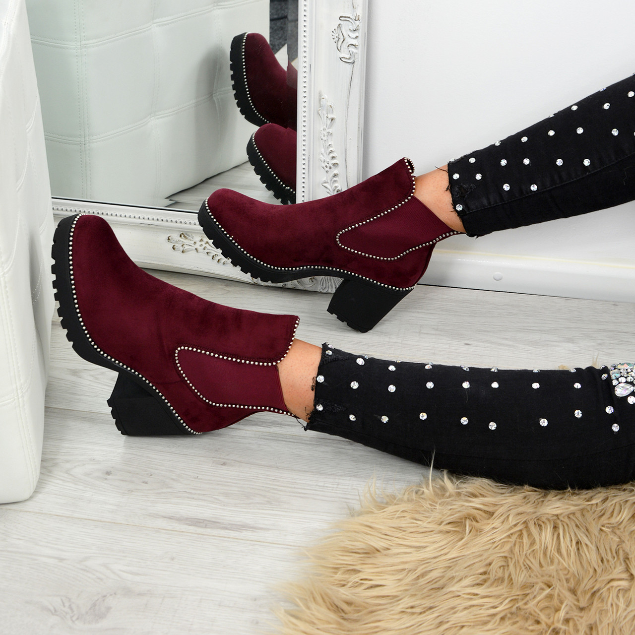 7479d56544a3d Ladies Womens Chelsea Ankle Boots Studded Block Heels Elastic Shoes Sizes Uk