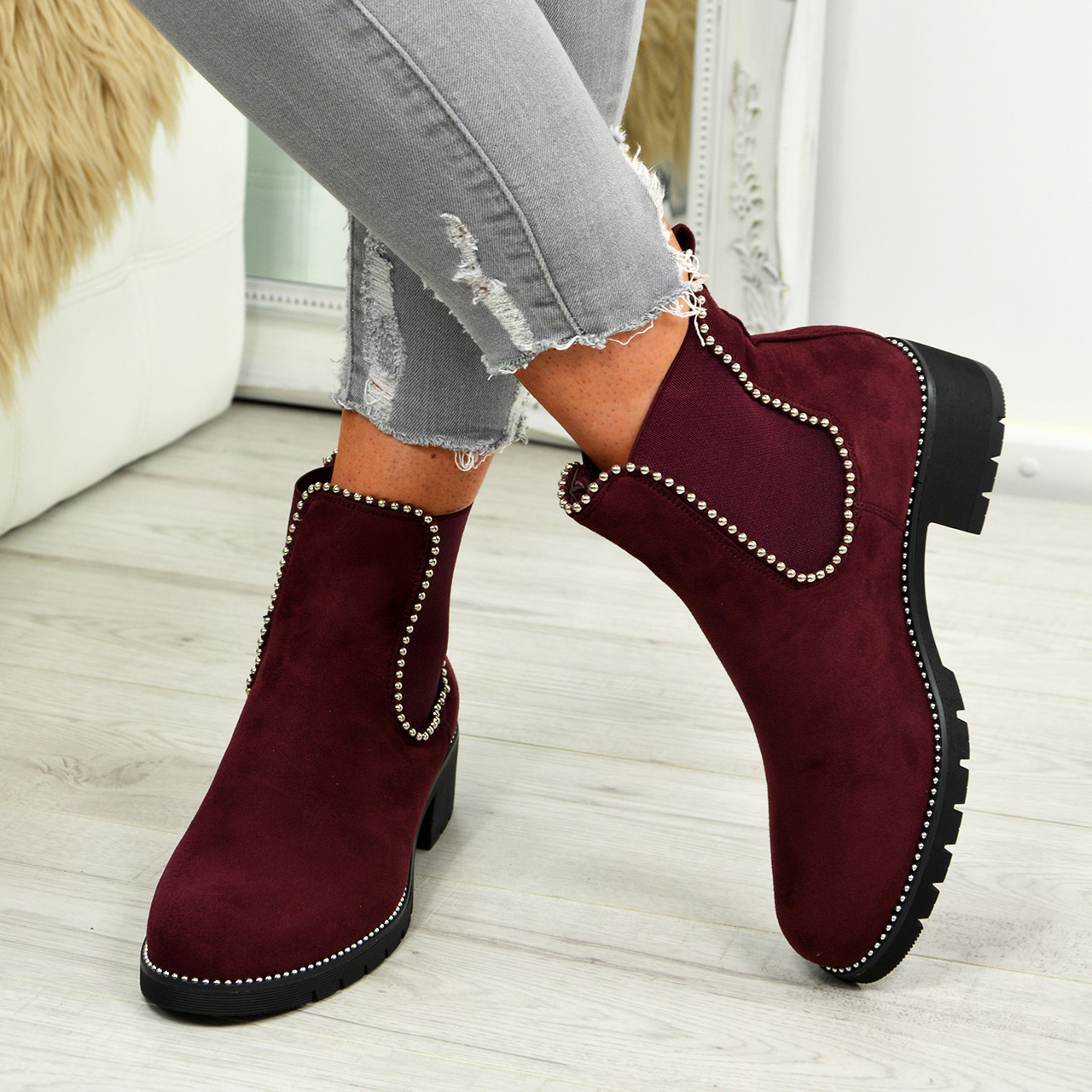 85ad17160a9b3 Ladies Womens Elastic Gusets Ankle Boots Chelsea Studded Low Heel Shoes Size