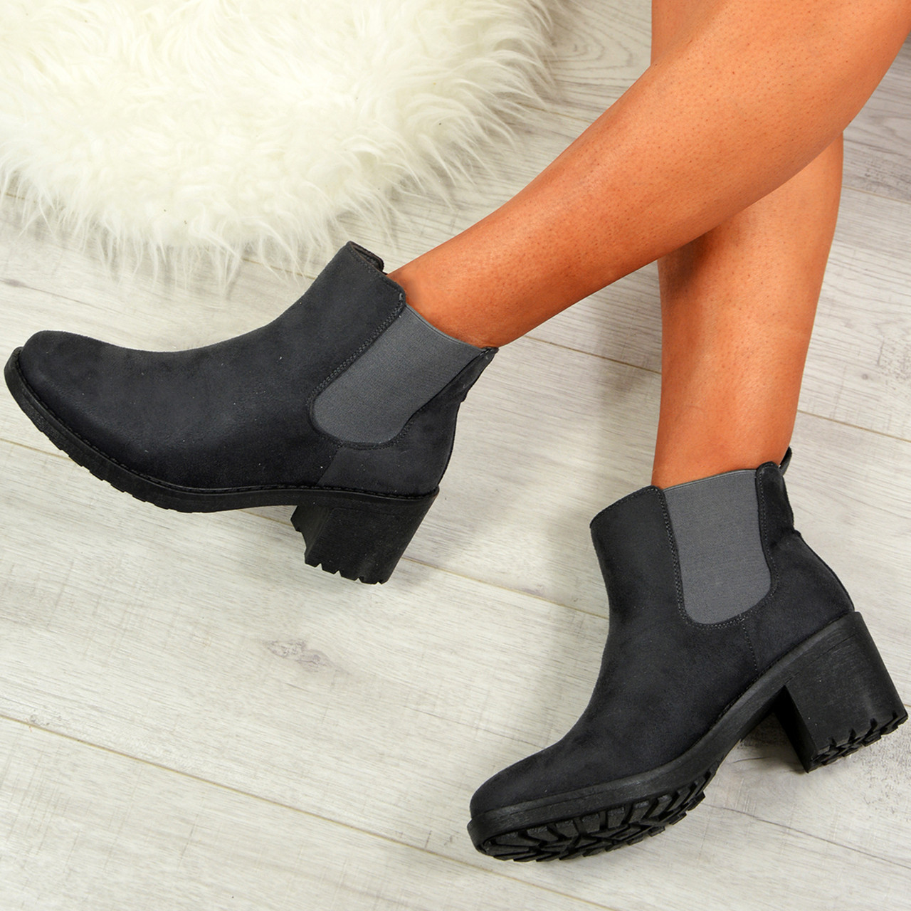 dbf396c9dc791 Ladies Womens Chelsea Ankle Boots Chunky Heel Grip Winter Shoes Size Uk