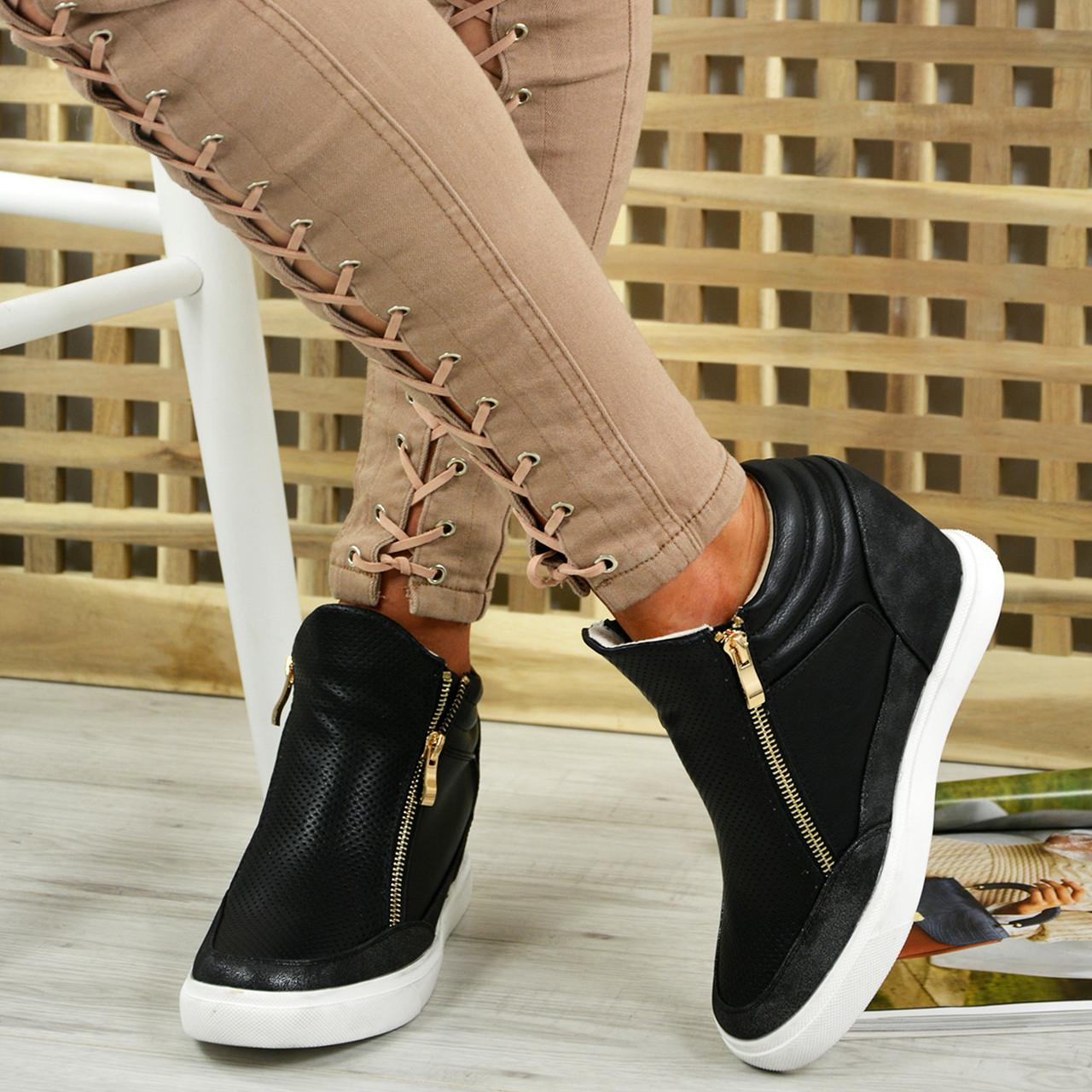 Ladies Womens Zip Wedge Heels Trainers