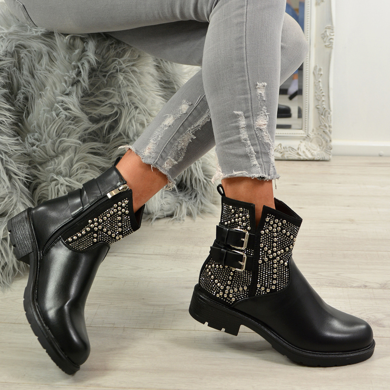 1216bb2eb100 Ladies Womens Ankle Boots Studded Side Zip Low Heel Buckle Casual Shoes  Sizes