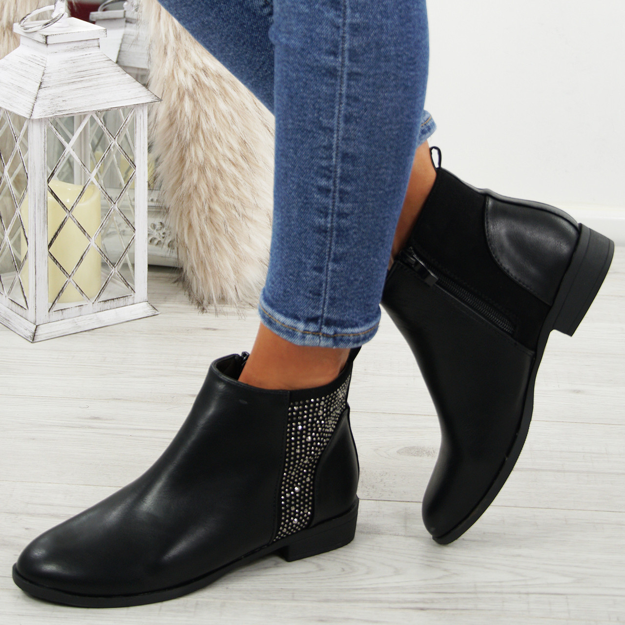a04e47f4e220 Womens Studded Ankle Boots Ladies Zip Chelsea Low Flat Booties Winter Shoes  Size