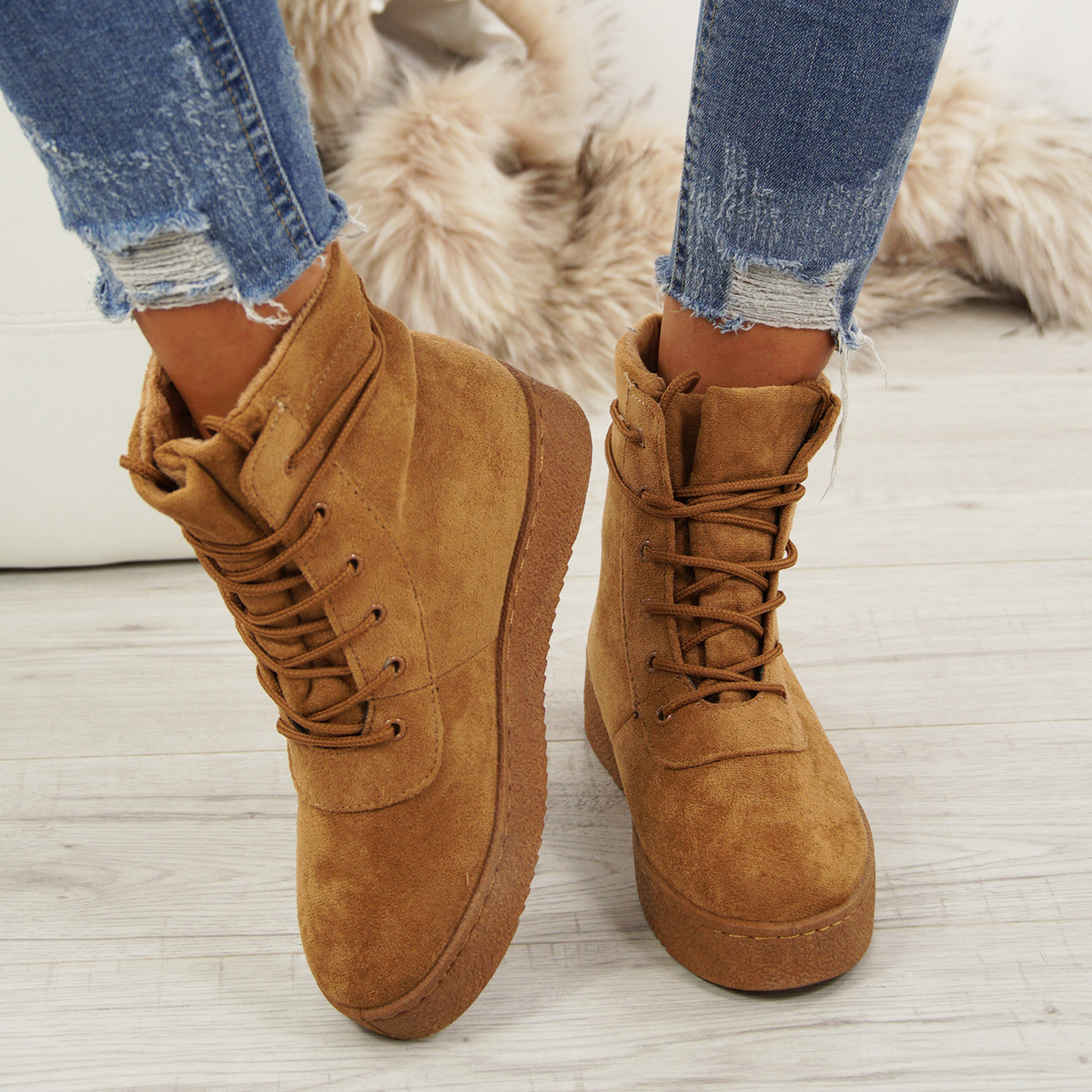 Ladies Lace Up Ankle Boots Womens Faux