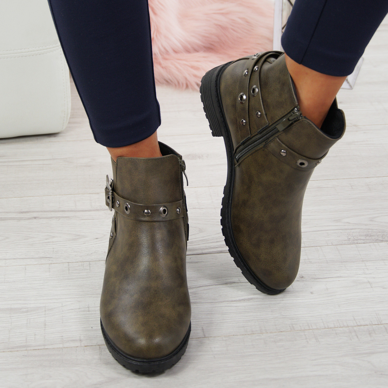 Womens Ladies Buckle Ankle Boots Low