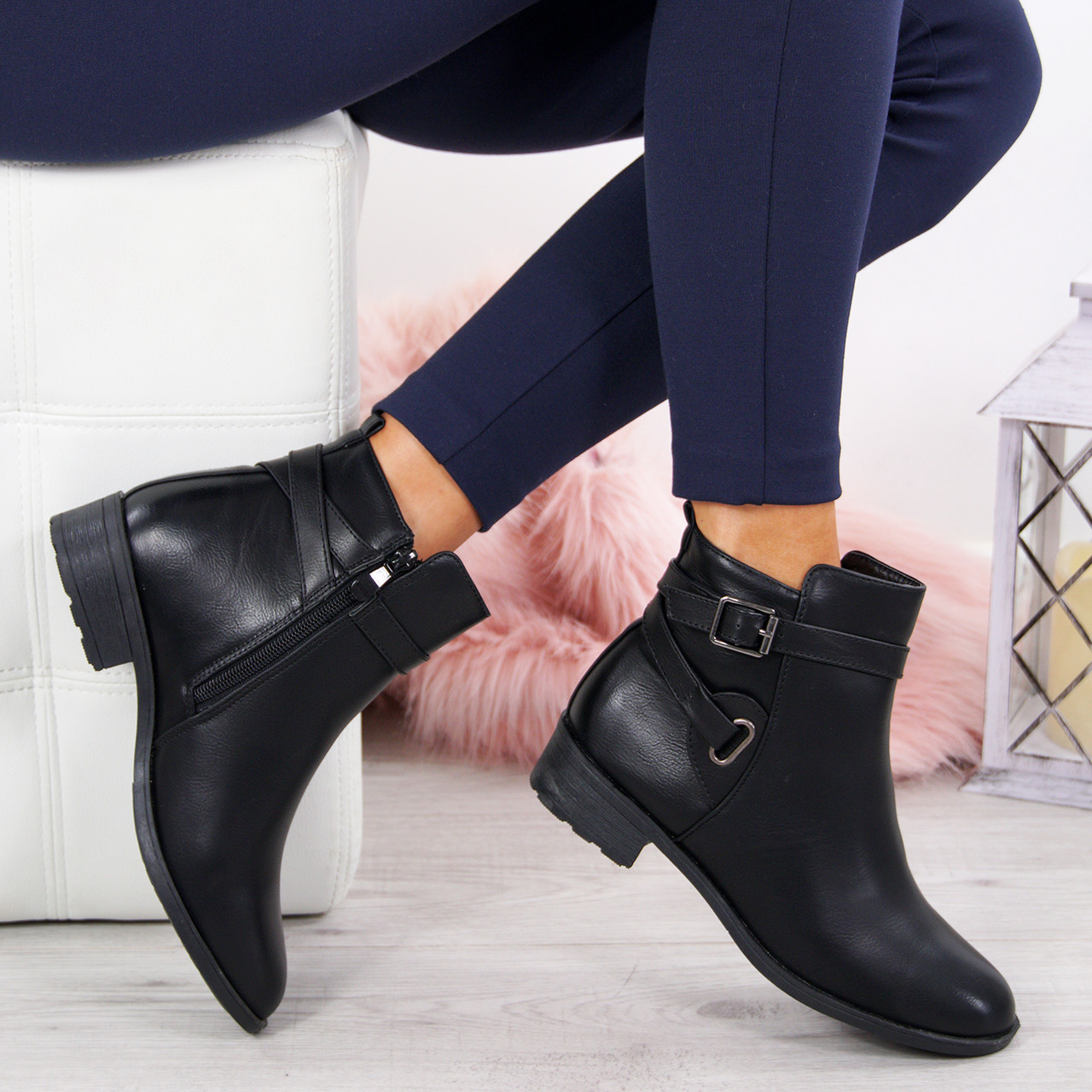 New Womens Ladies Flat Ankle Boots Casual Diamante Side Zip Low Heel Shoes Sizes