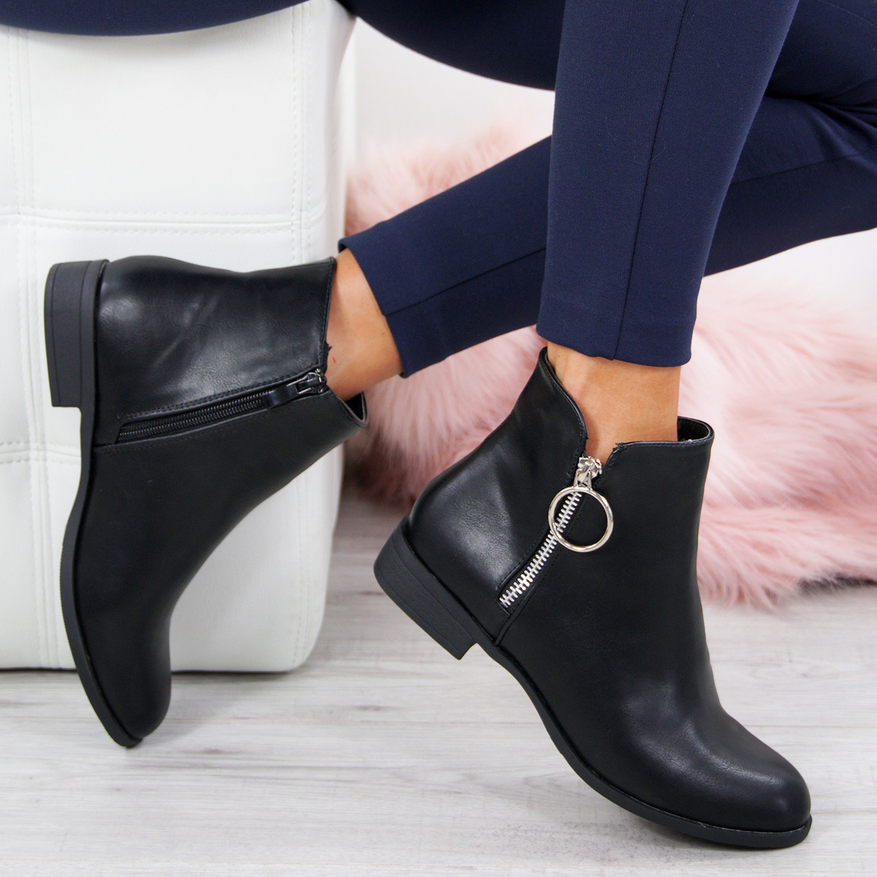2ad4633aa172 Ladies Womens Casual Ankle Boots Low Block Heel Zip Closure Walking Shoes  Size