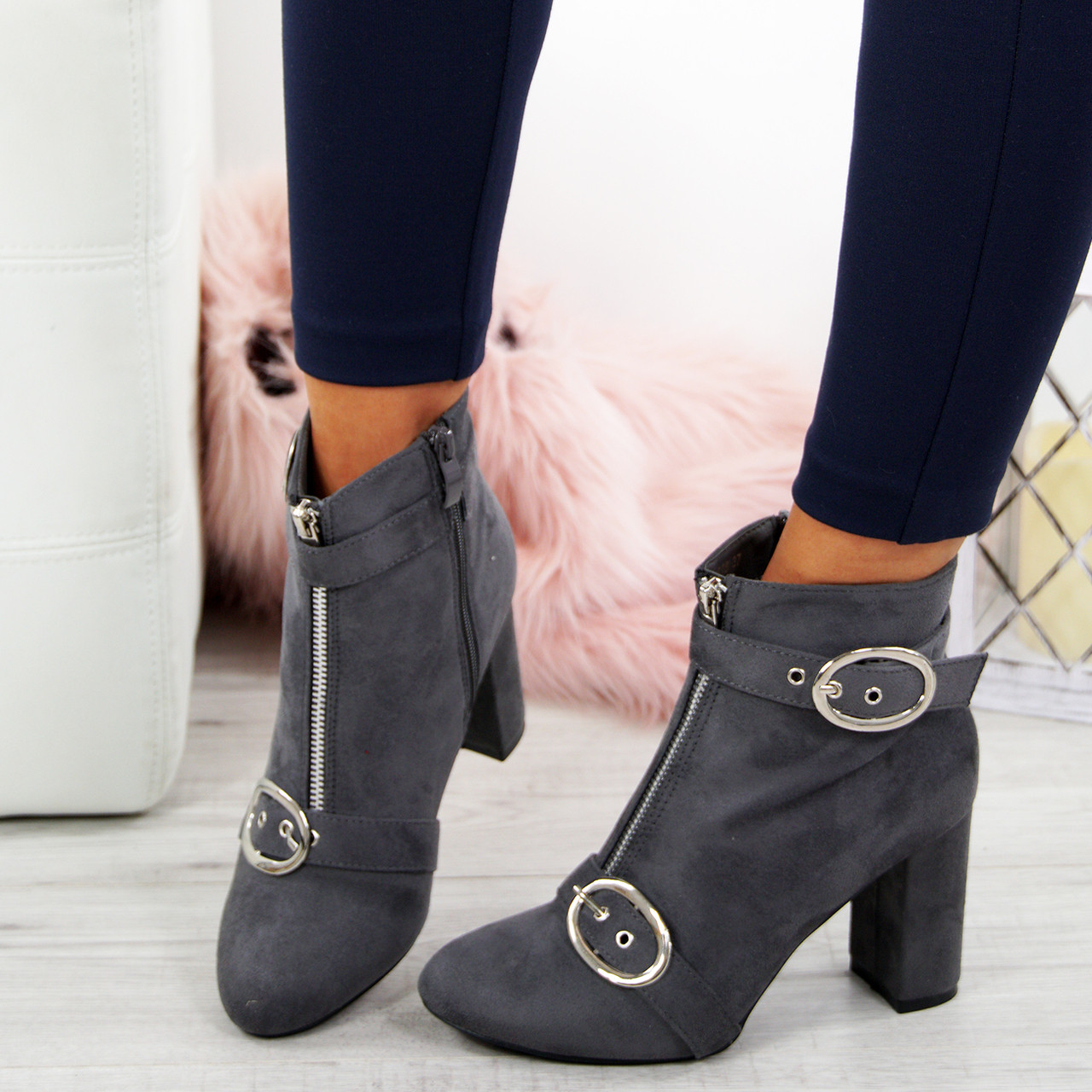 cd7309e416f Finley Grey Block Heel Ankle Boots