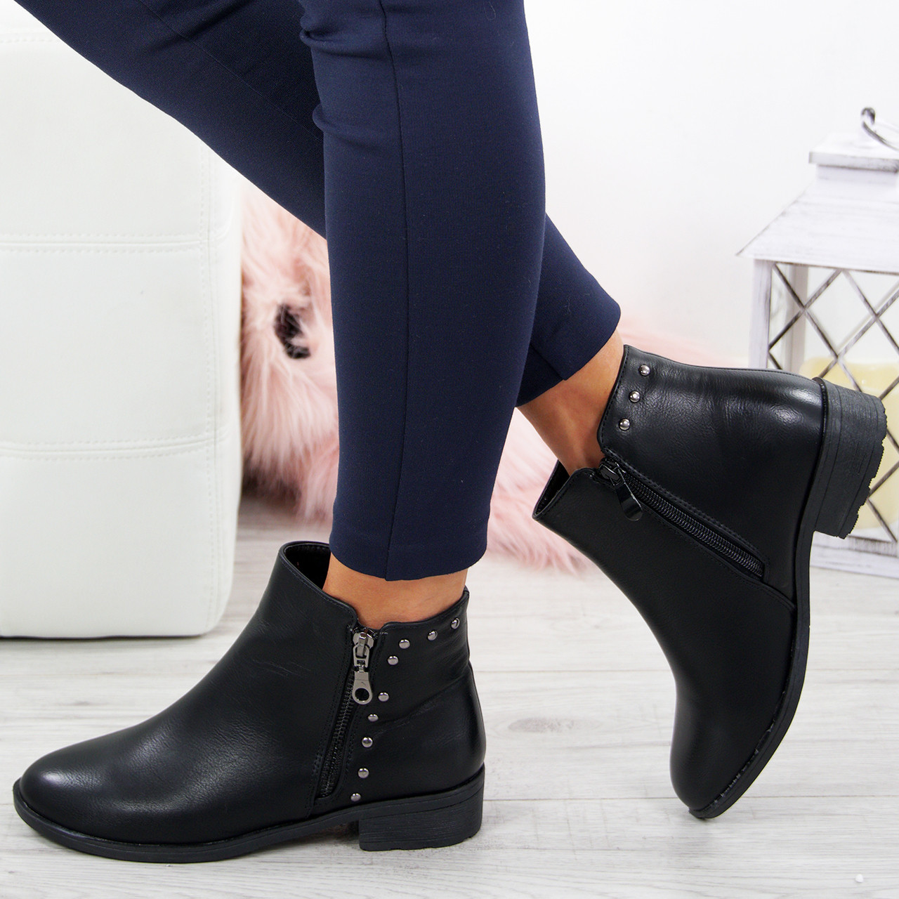 5643149e337 Ladies Ankle Studded Boots Womens Low Block Heel Zip Fastening Winter Shoes  Size
